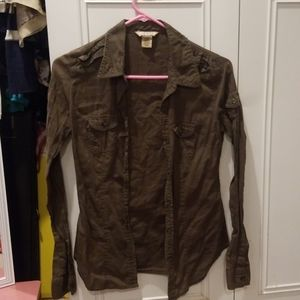 Cotton Olive green button up
